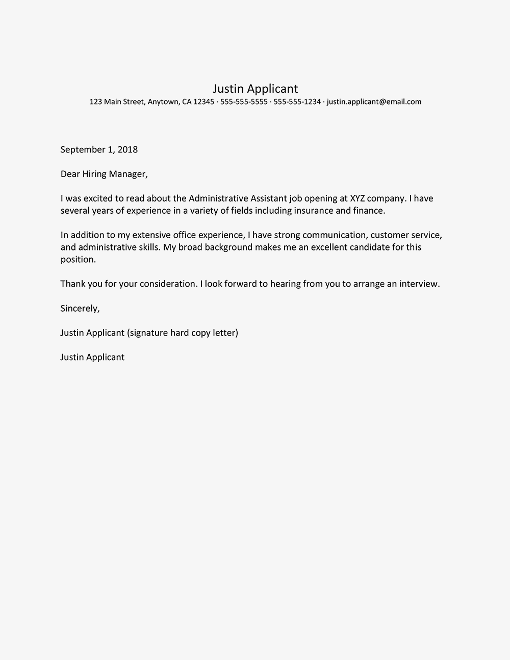 Cover Letter Samples For Business And Administration Jobs