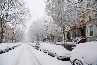 Snow covered Brooklyn street strand workers at home