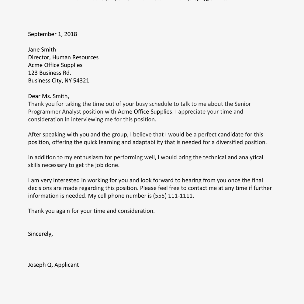 Sample Thank You Letter After Interview