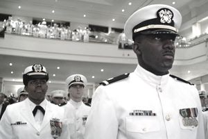 Norfolk, Va.(May 8, 2004) - Newly graduated and commissioned officers of the Naval Reserve Officers Training Corps (NROTC)