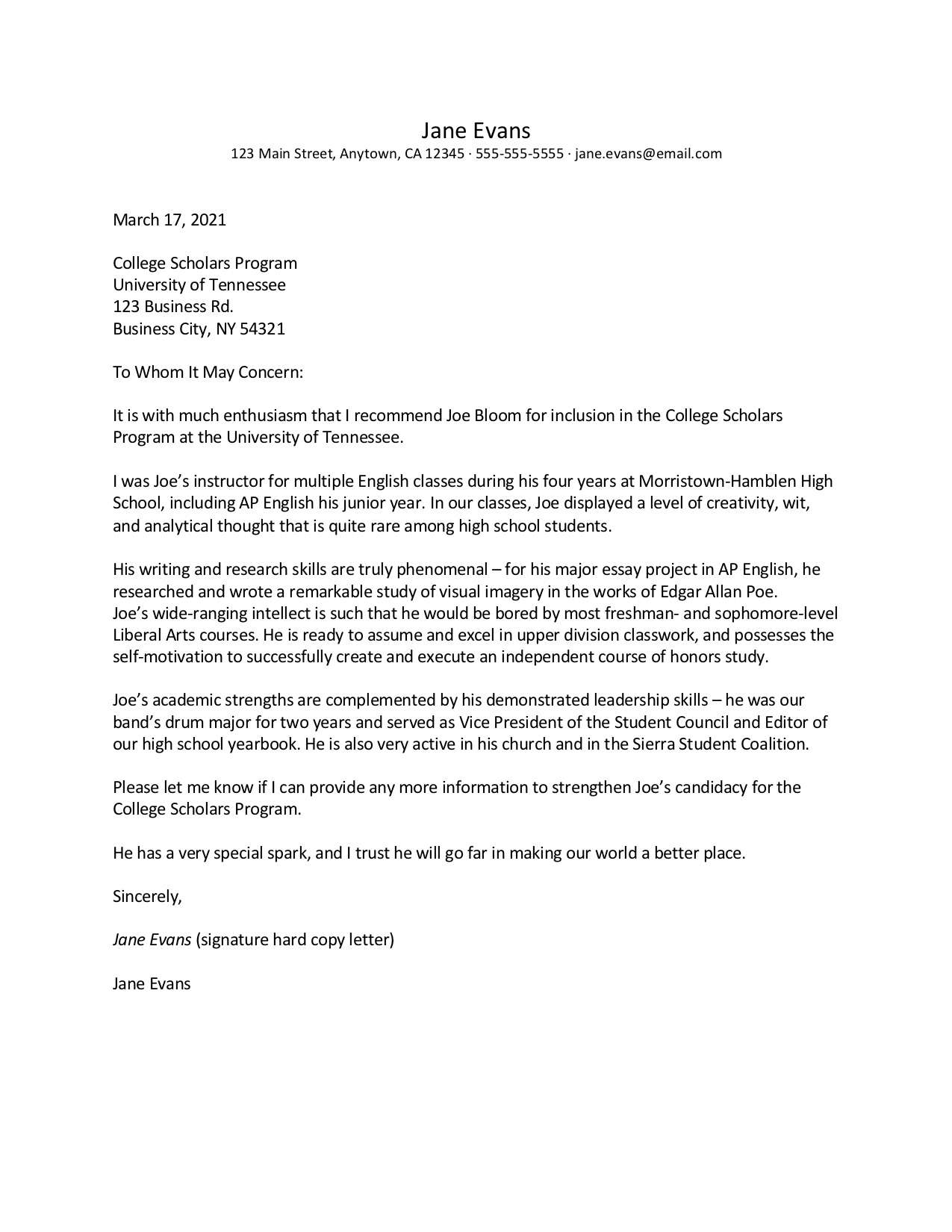 Screenshot of a sample reference letter