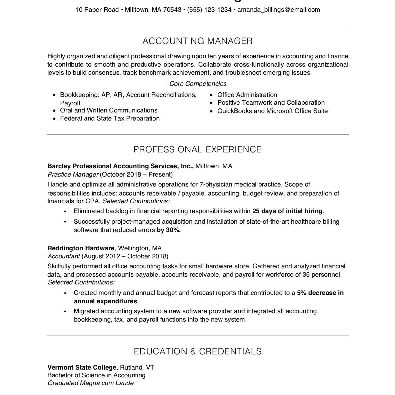 Free Resume Template Example