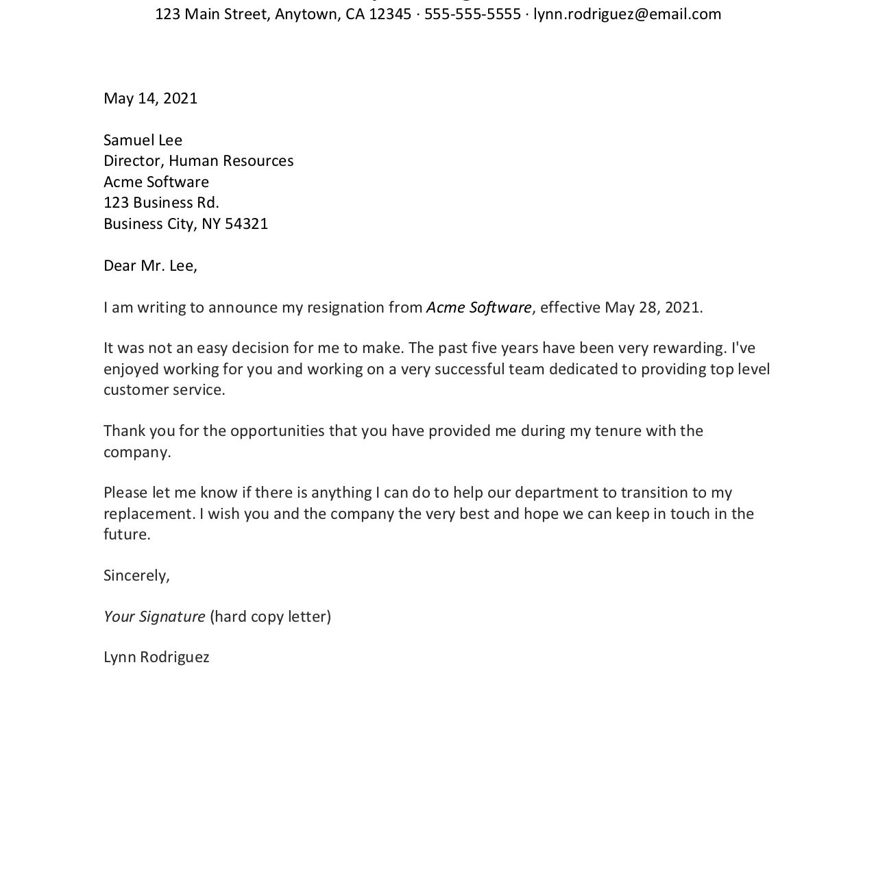 Screenshot of a sample letter of intent to resign