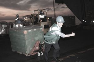a woman wearing a construction helmet and pulling a pallet full of supplies with a dolly