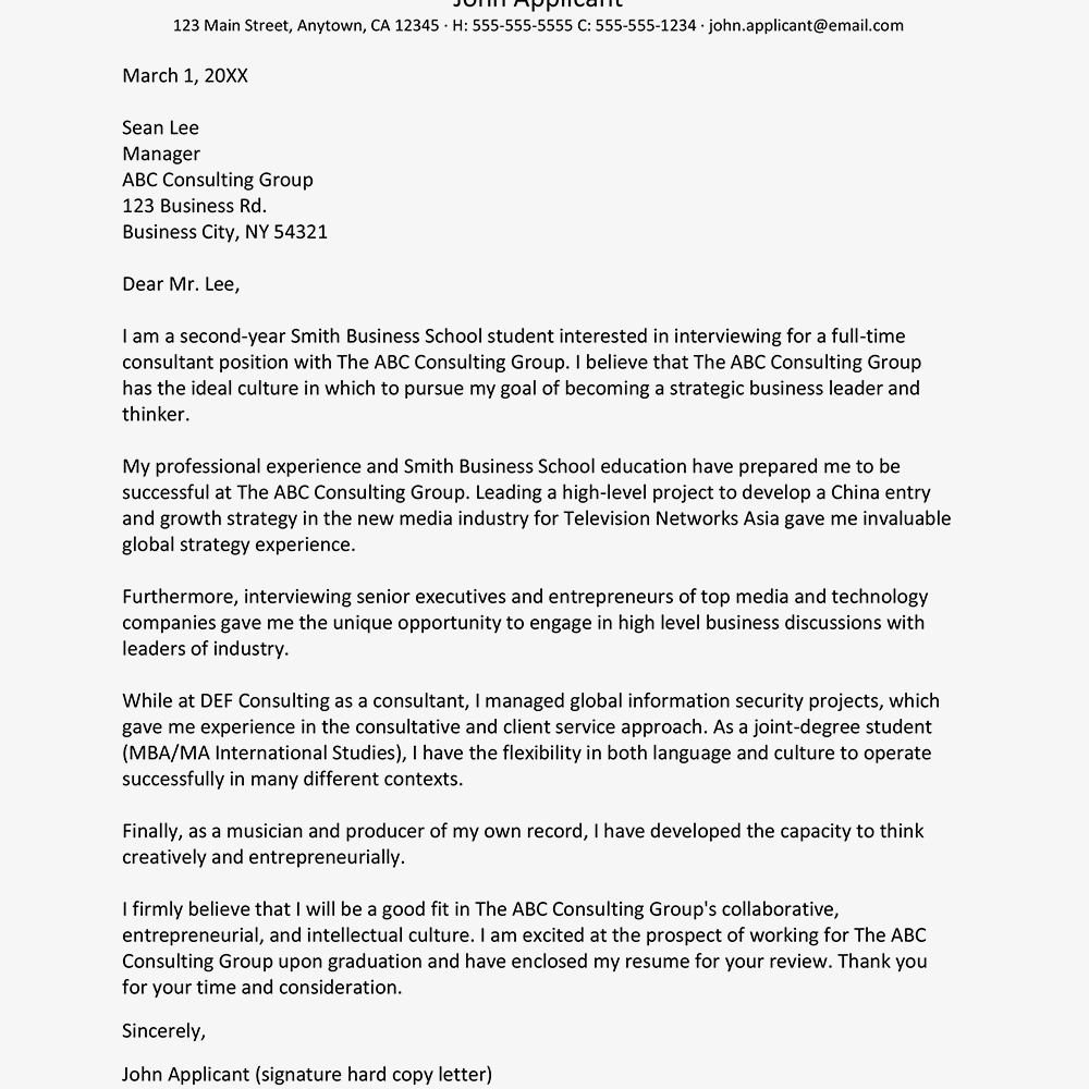 consultant cover letter sample - Consulting Cover Letter