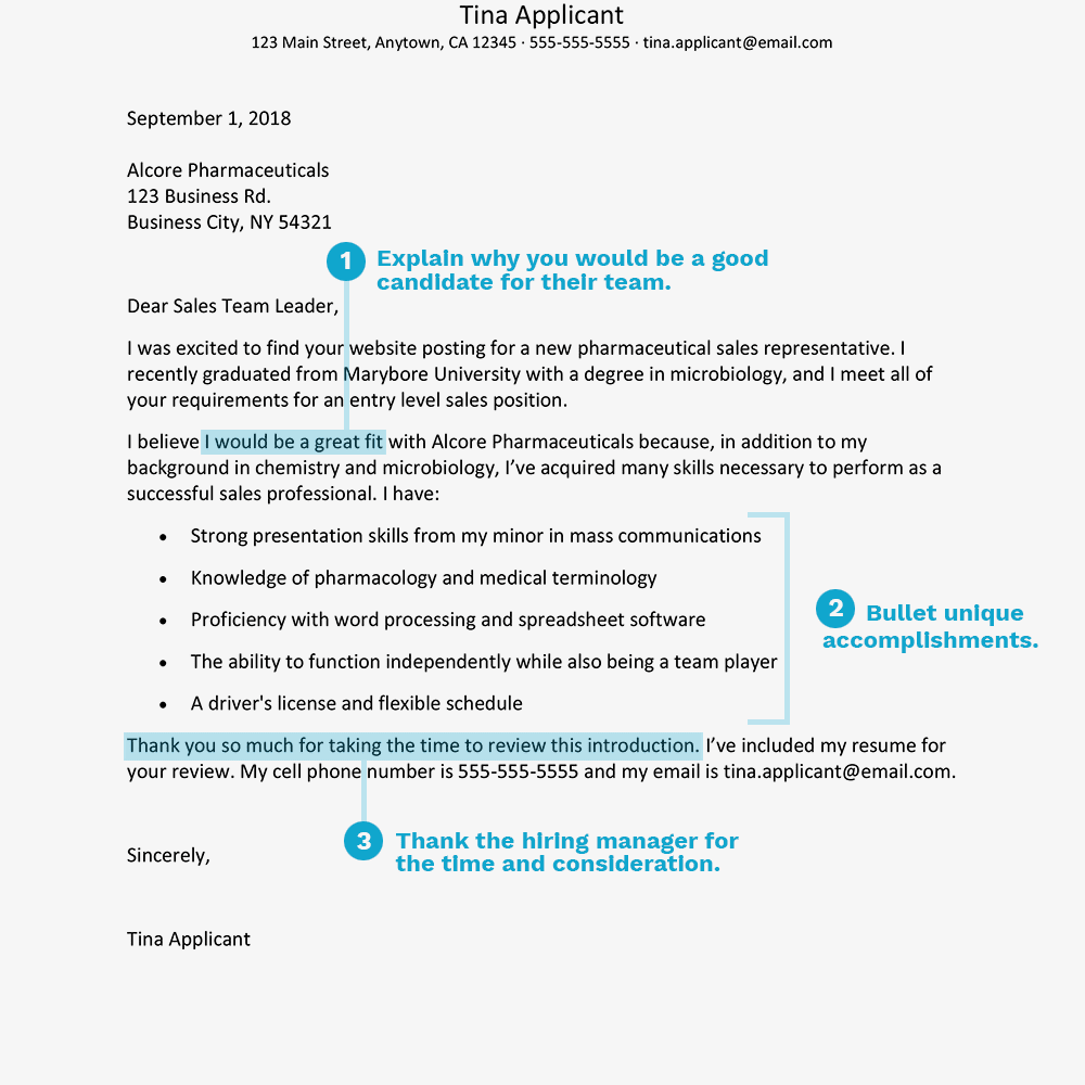 screenshot of a cover letter example for a sales or marketing job