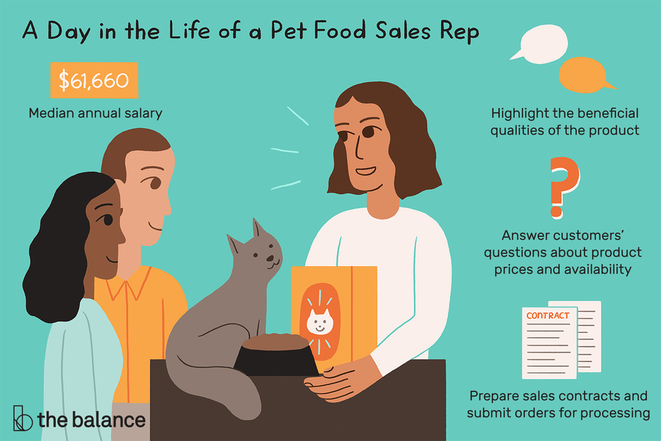 "Image shows three people surrounding a cat. Text reads: ""A day in the life of a pet food sales rep: highlight the beneficial qualities of the product; answer customers' questions about product prices and availability; prepare sales contracts and submit orders for processing; median annual salary: $61,660"""
