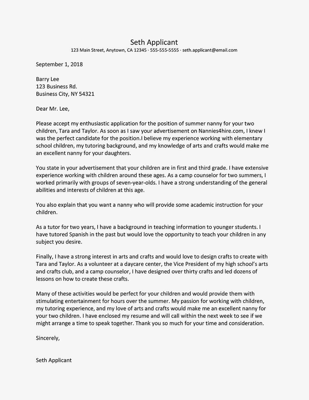 nanny cover letter sample nanny resume cover letter