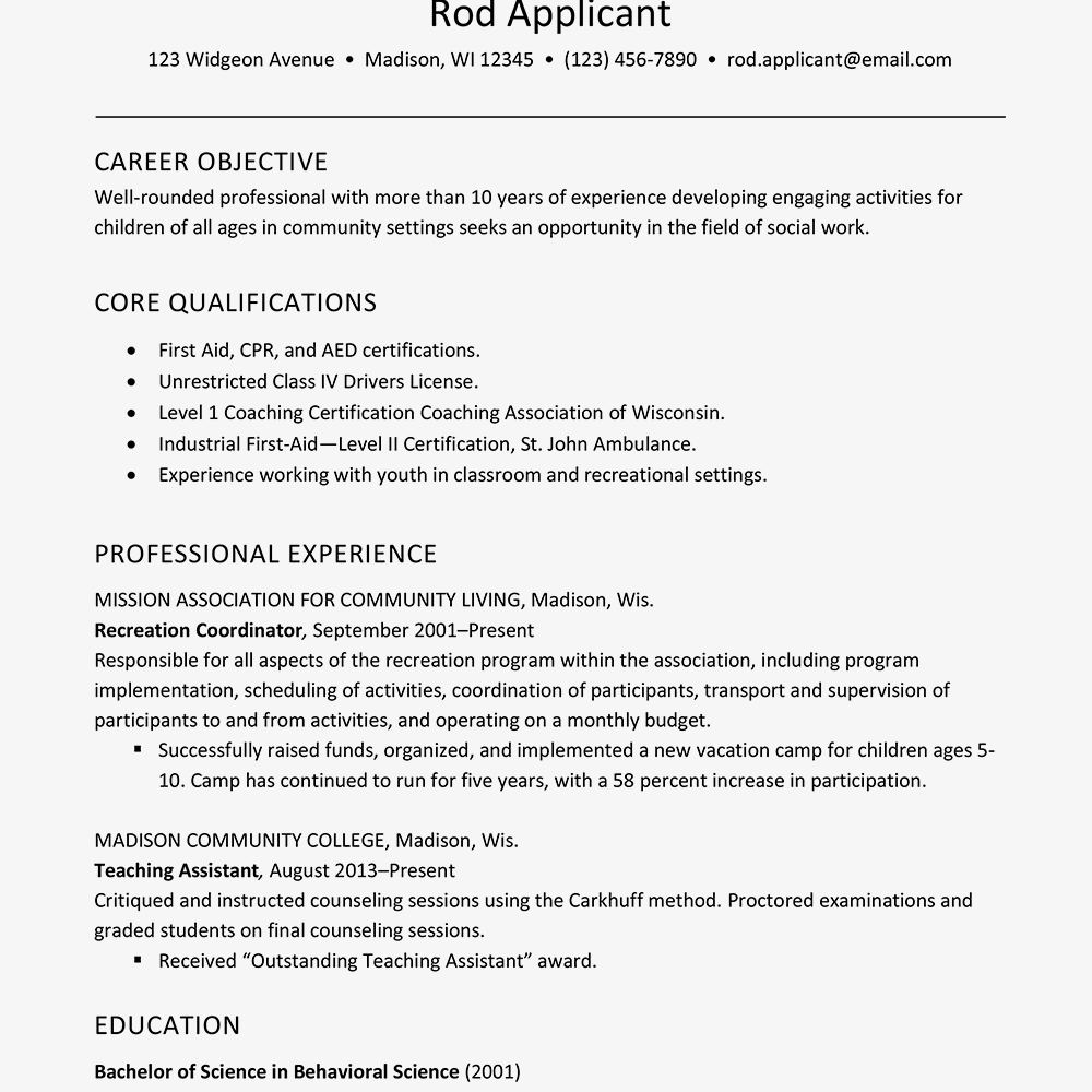 Childcare Social Services Worker Resume Text Only