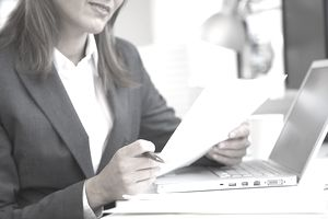 Businesswoman looking at document