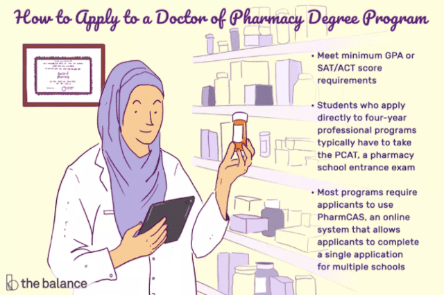 Image shows a woman in a pharmacist's jacket holding a pill bottle by a wall of shelves, there is also a degree on the wall behind her. Text reads: