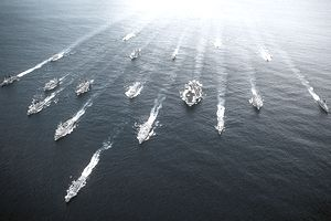 Navy aircraft carriers in the ocean