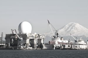 Sea Based Missile Defense Radar with view of Mount Rainier, Seattle, Washington, USA