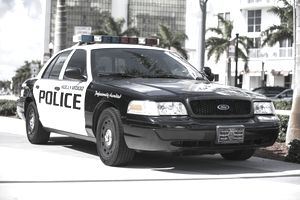 Police car parked in Miami Florida USA