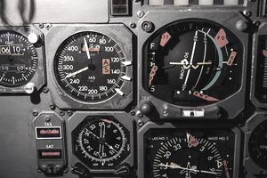 Flight instruments and gauges on a retired commercial aircraft.
