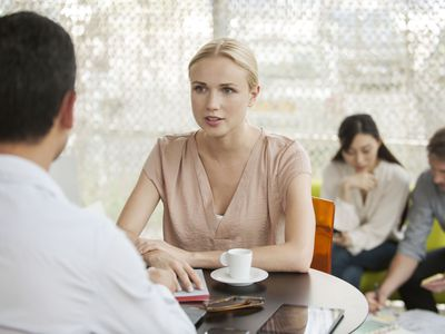 Woman at an interview in restaurant