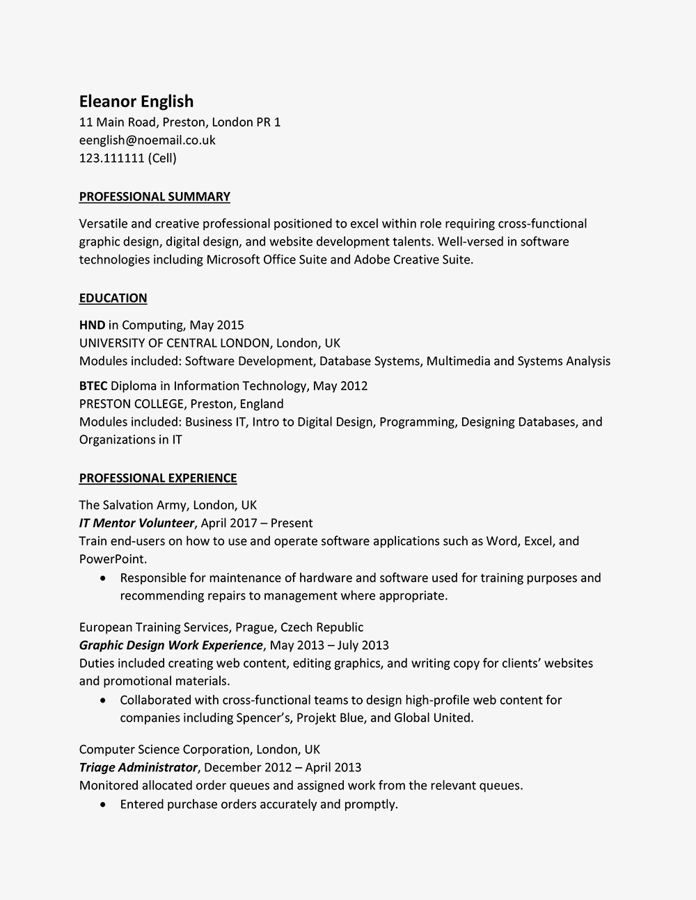 United Kingdom Curriculum Vitae Cv Example