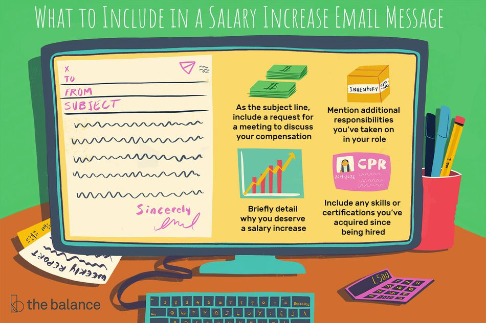 This illustration shows what to include in a salary increase email message including