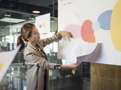 Businesswoman leading presentation in conference room