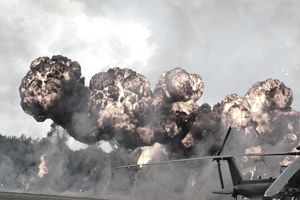 An explosion on a battlefield