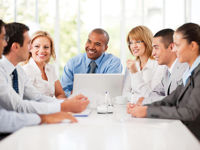 Group of diverse managers in a management development meeting