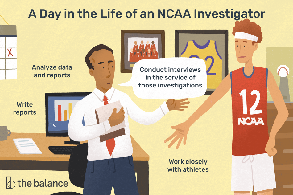 "This illustration depicts a day in the life of an NCAA investigator including ""Analyze data and reports,"" ""Write reports,"" ""Conduct interviews in the service of those investigations,"" and ""Work closely with athletes."""