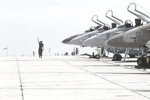 Air Force Airfield Management Specialist standing on fighter jet runway, signaling, jets in row