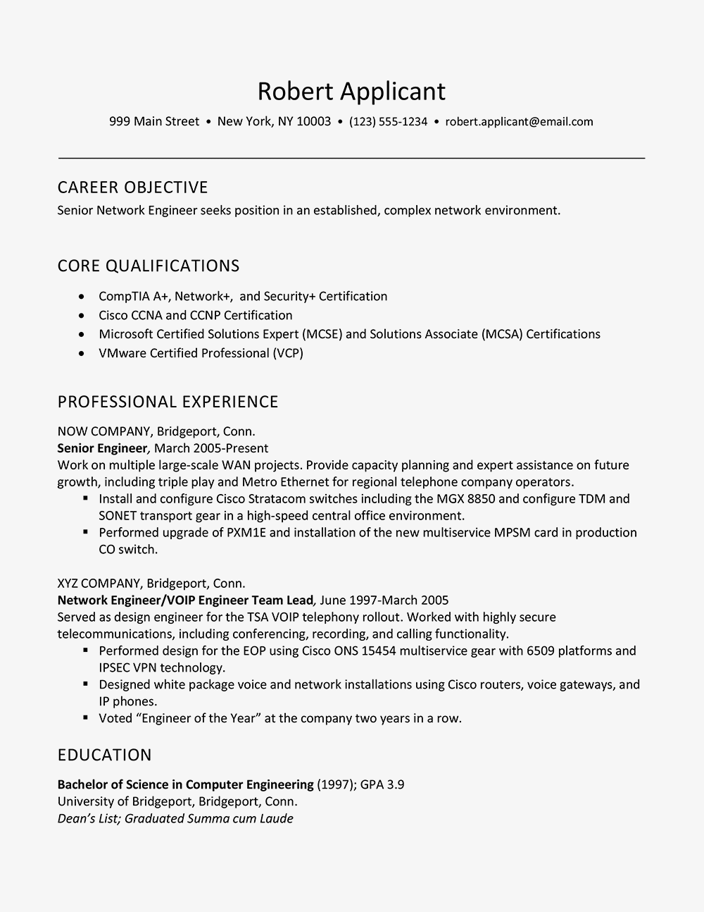 Sample Resume For Experienced Network Engineer