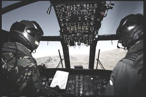 Two RAF Pilots in Helicopter