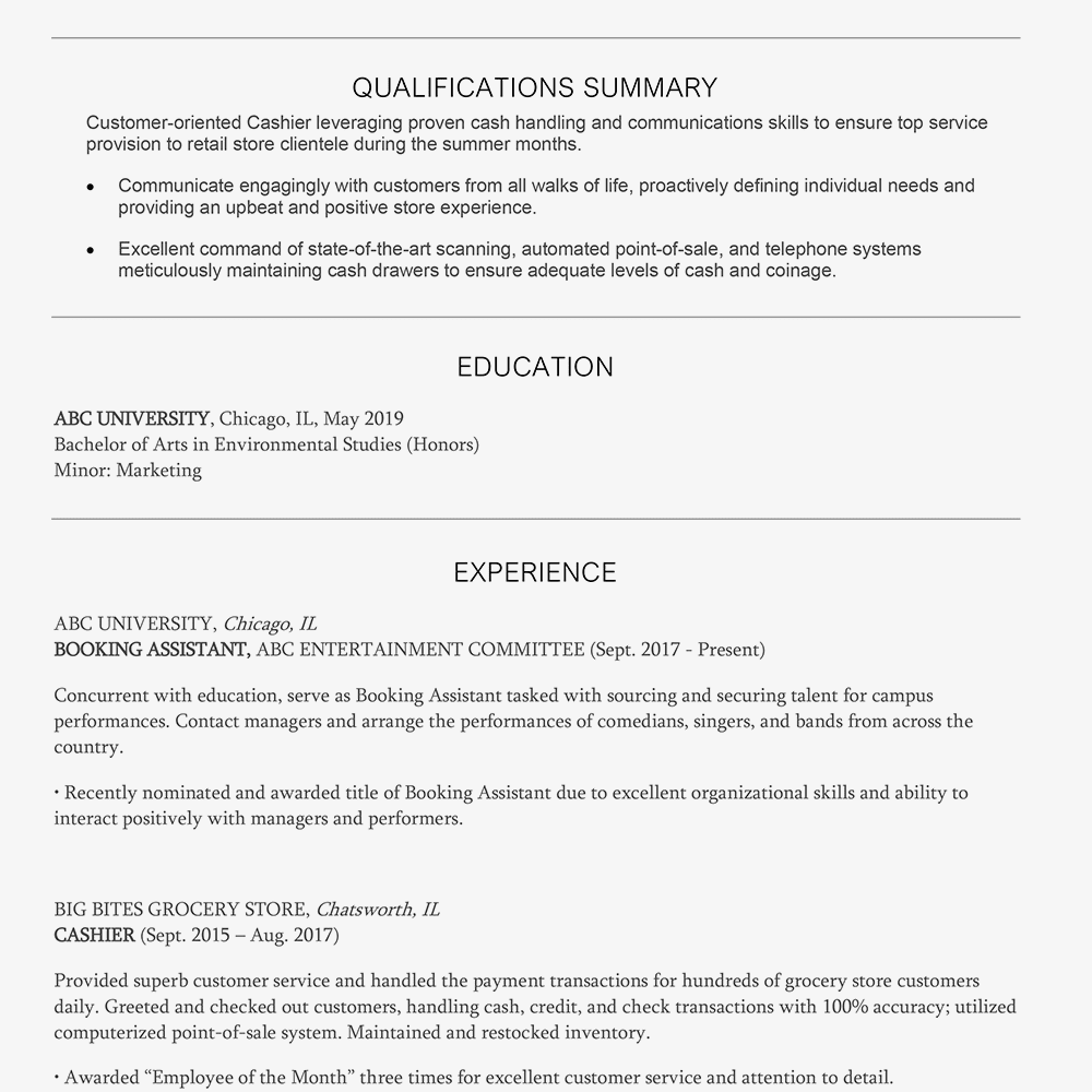 Summer Cashier Cover Letter And Resume Example