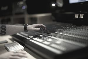 The mixing desk in an audio recording studio