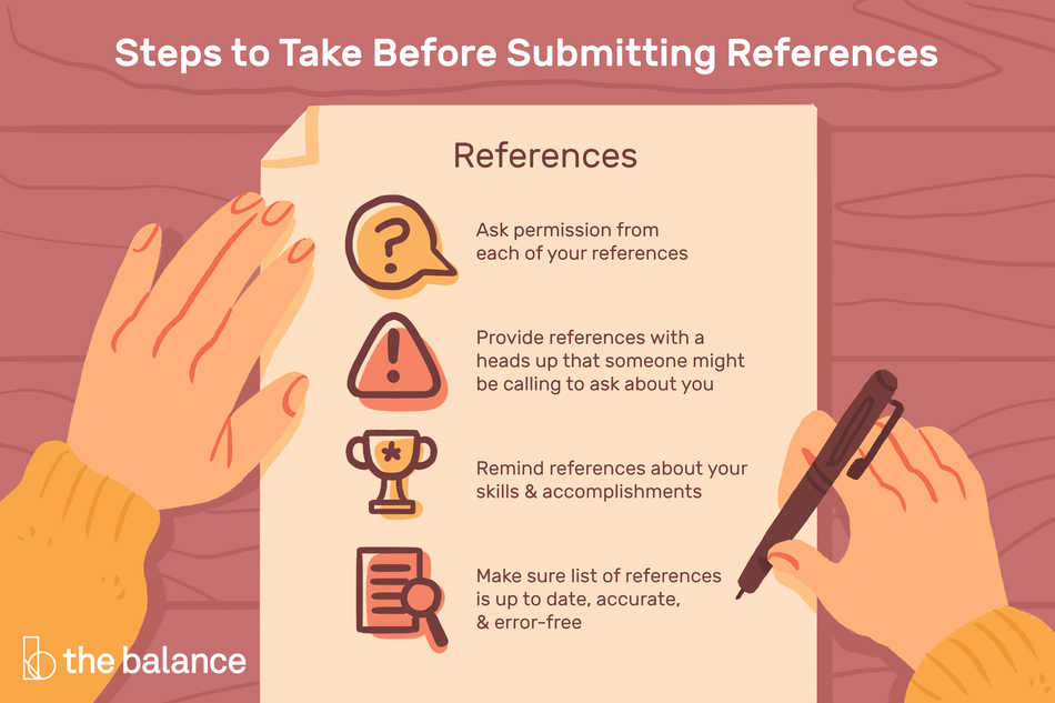 Image shows a person writing on paper. Text reads: Steps to take before submitting references: Ask permission from each of your references; Provide references with a heads up that someone might be calling to ask about you; Remind references about your skills and accomplishments; Make sure list of references is up to date, accurate, and error-free""