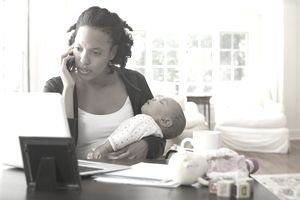 Mom With Baby on Phone