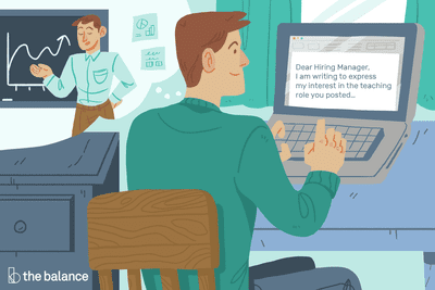 Image shows a man at his desk fantasizing about becoming a teacher, and he's typing on his computer: