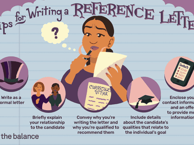 This illustration features tips for writing a reference letter, including