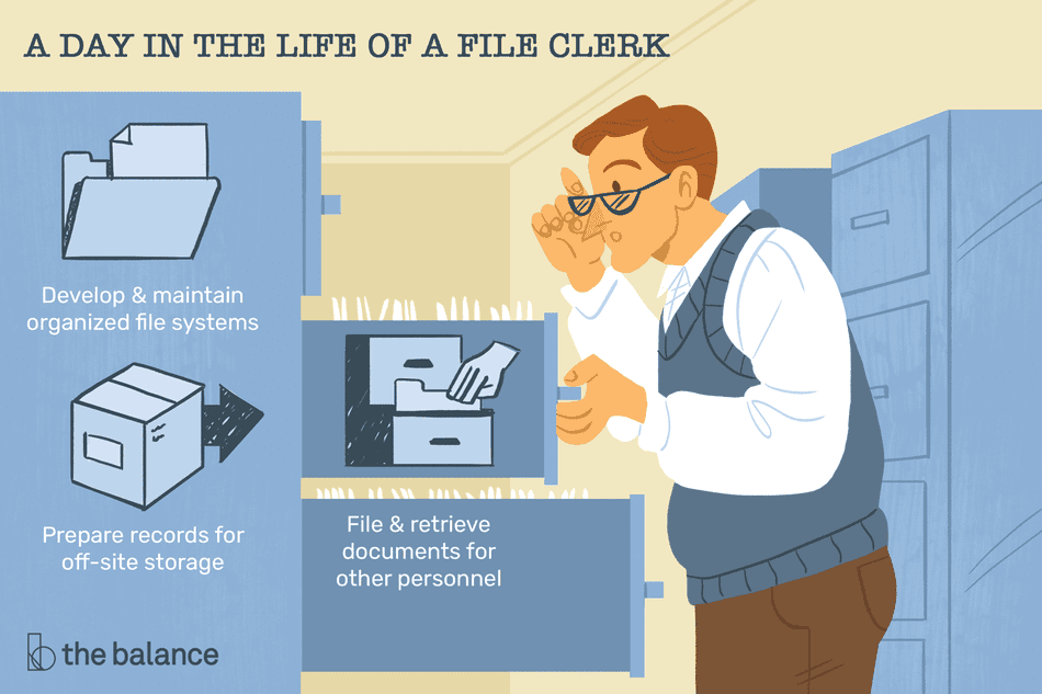 A day in the life of a file clerk: Develop and maintain organized file systems; prepare records for off-site storage; file and retrieve documents for other personnel