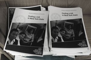 NEW YORK, NY - MARCH 03: Employment related booklets are seen on a shelf at a New York State Department of Labor Employment Services office March 3, 2011 in Brooklyn, New York City.