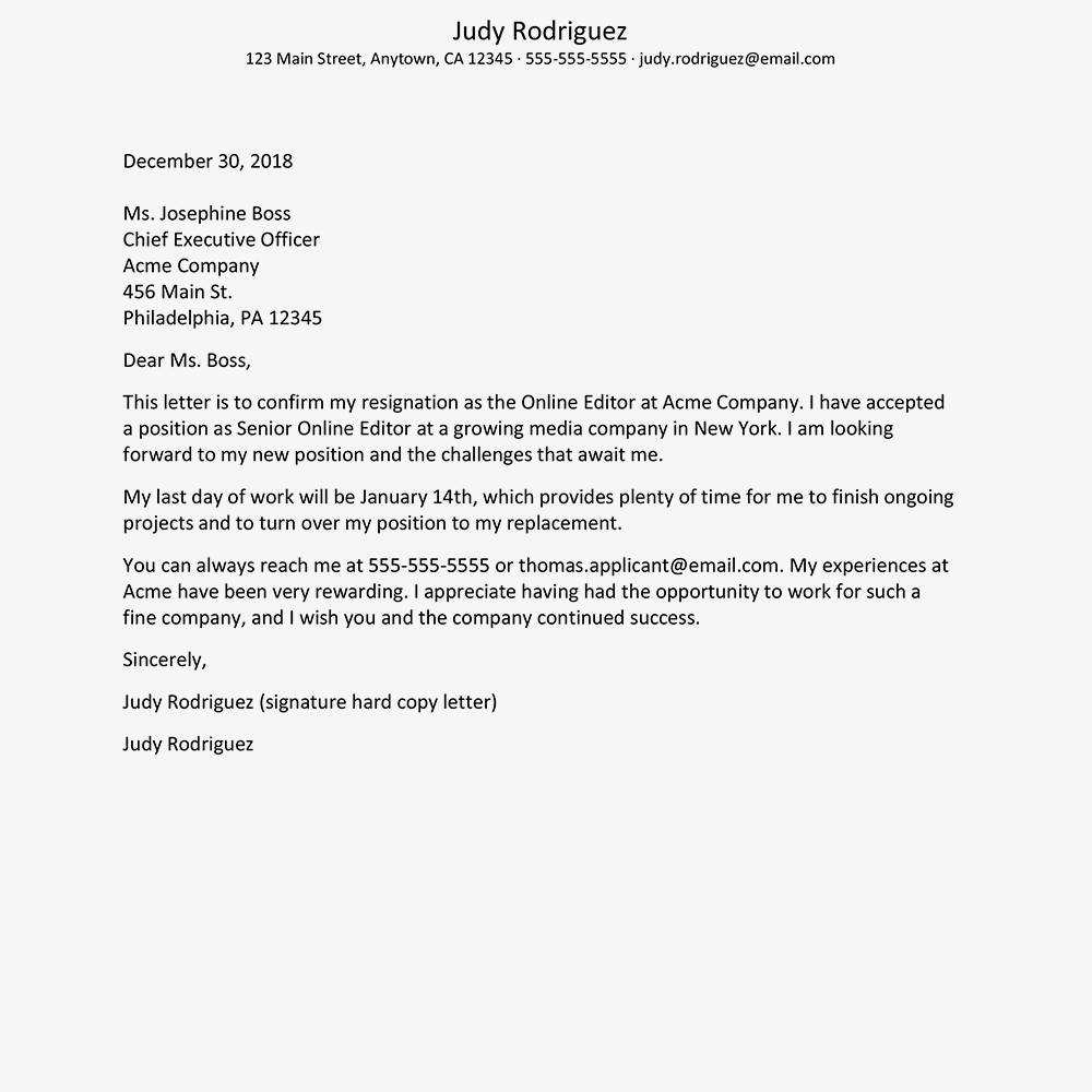 screenshot of a resignation letter with a thank you