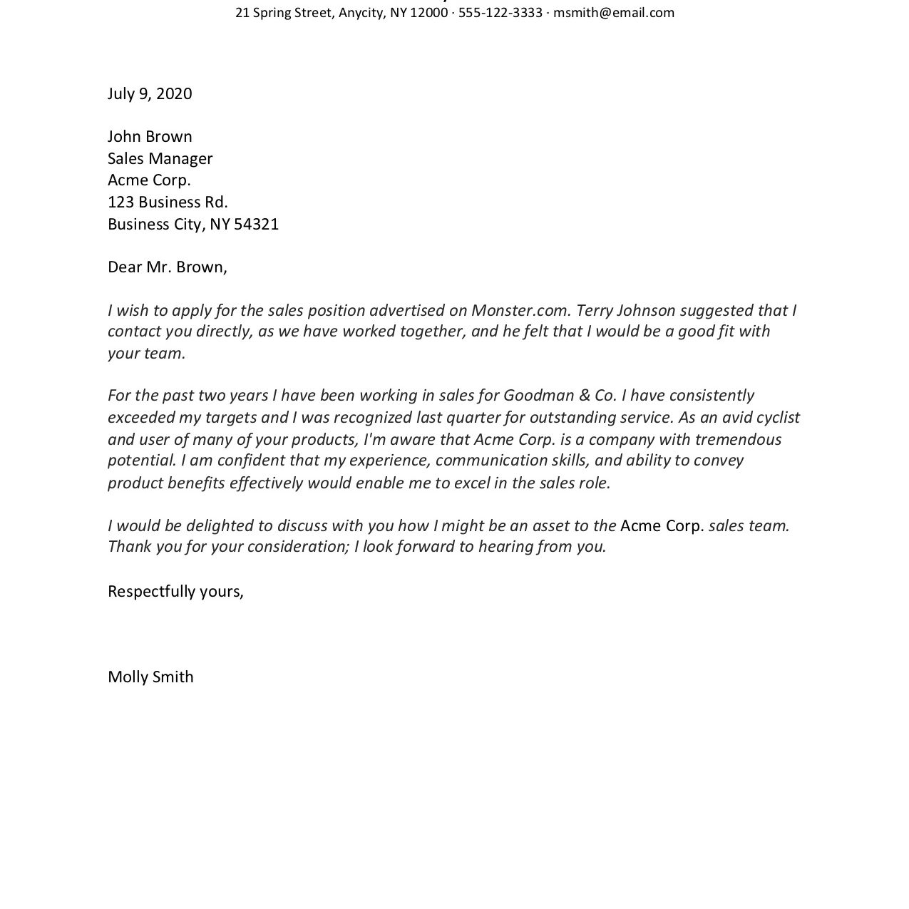 Cover Letter Template Example from www.thebalancecareers.com