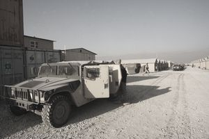 Military vehicle at Bagram Air Base in Afghanistan