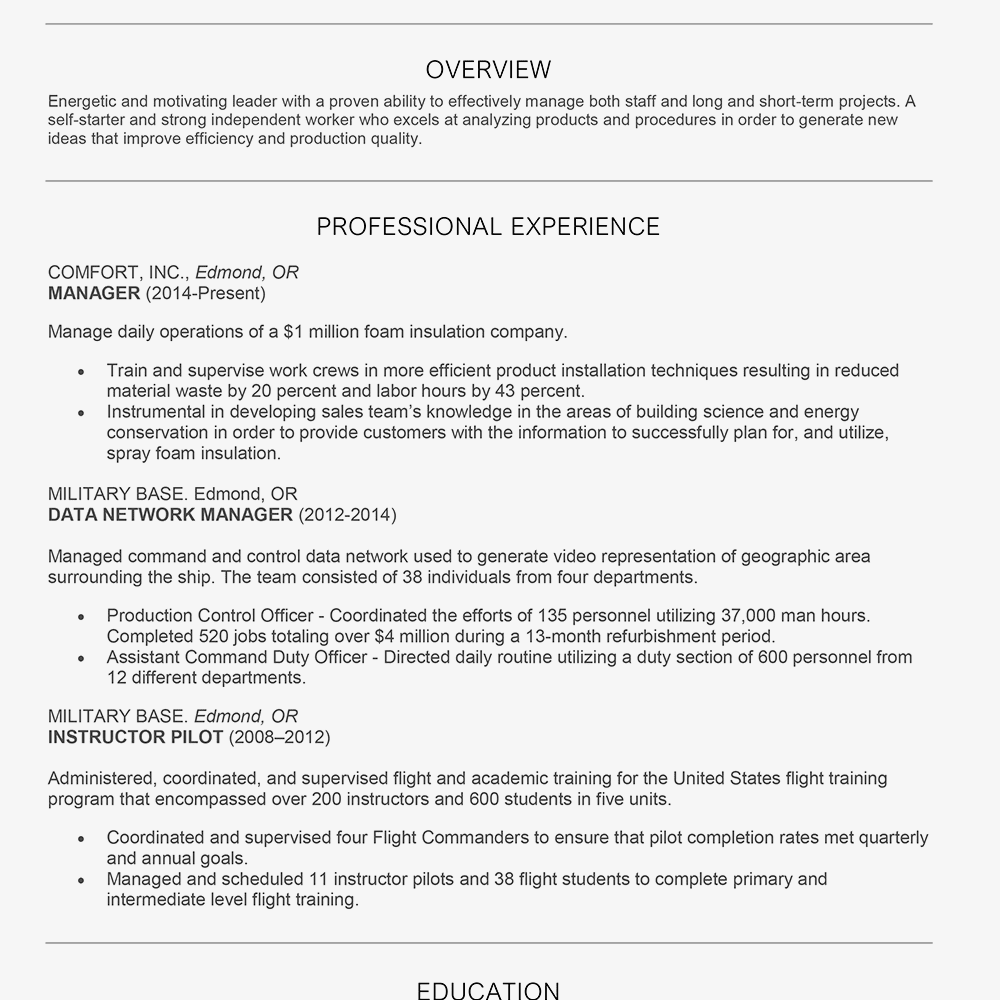example of a chronological resume screenshot of a chronological resume example