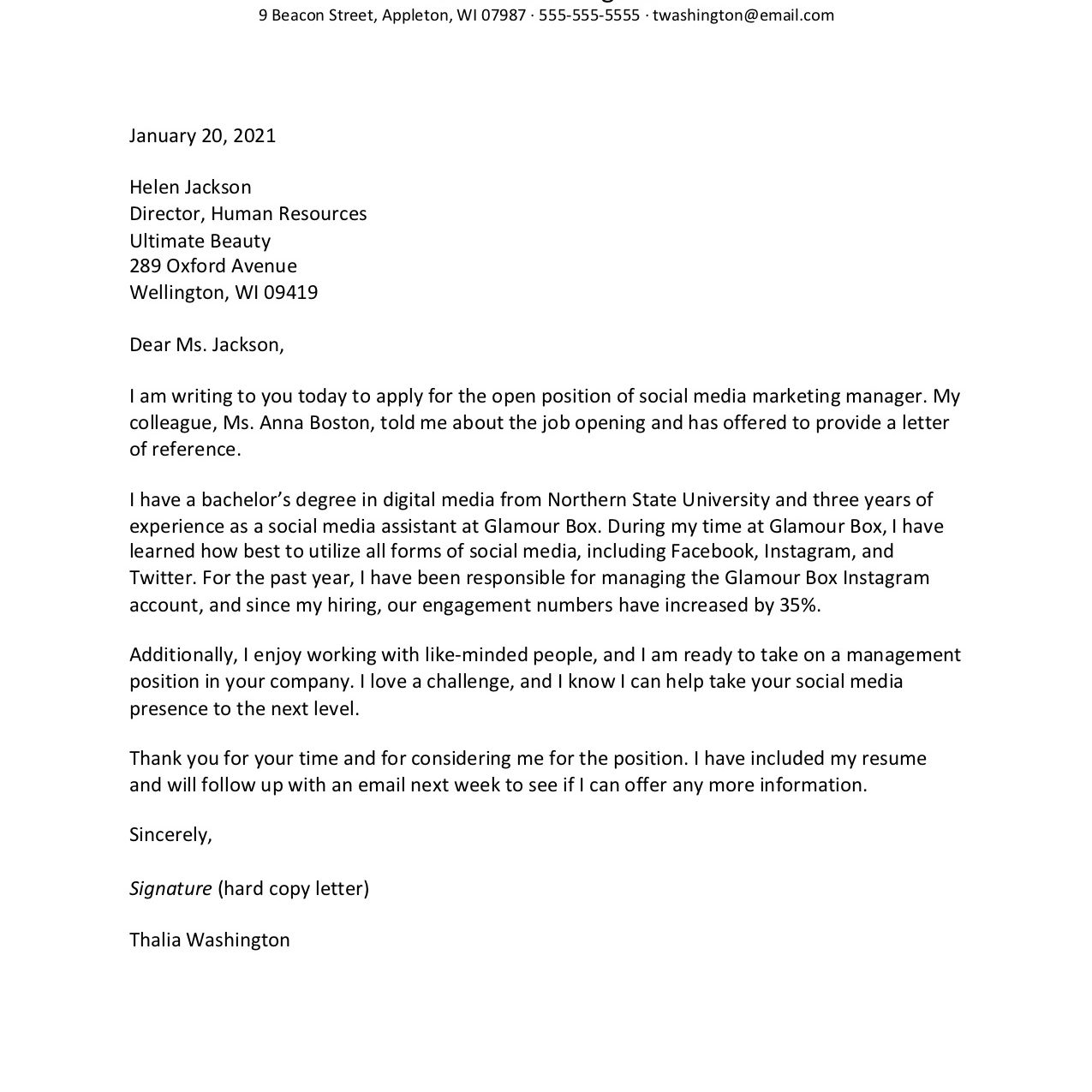 Cover Letter Template For A Resume