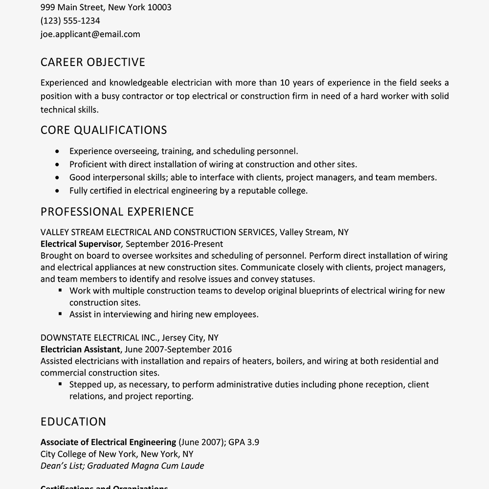Sample Electrician Resume and Skills List