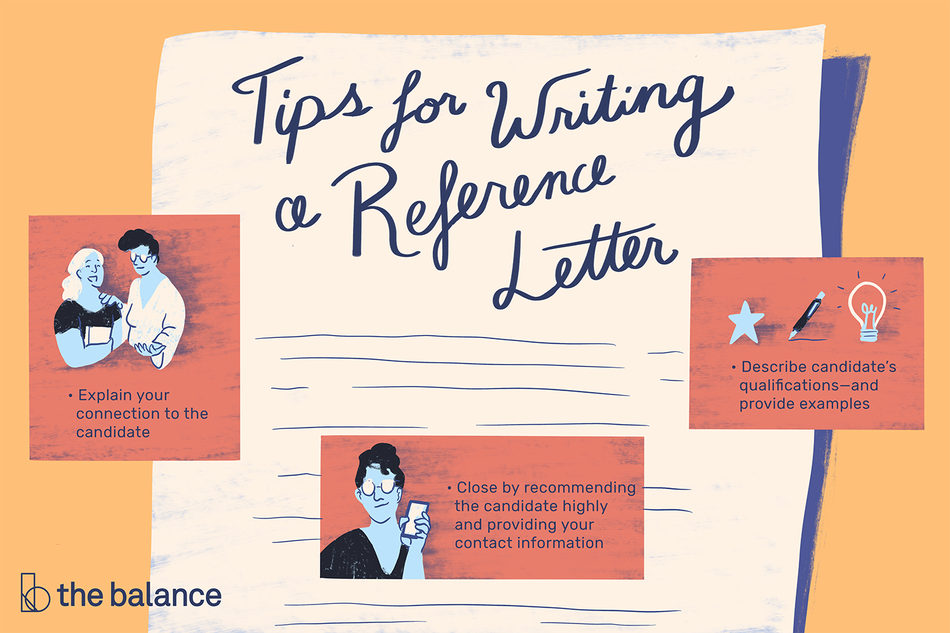 "This illustration includes tips for writing a reference letter including ""Explain your connection to the candidate,"" ""Close by recommending the candidate highly and providing your contact information,"" and ""Describe candidate's qualifications-and provide examples."""