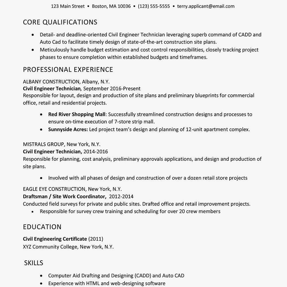 construction resume example and writing tips