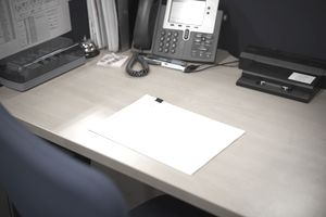 Office desk, blank paper