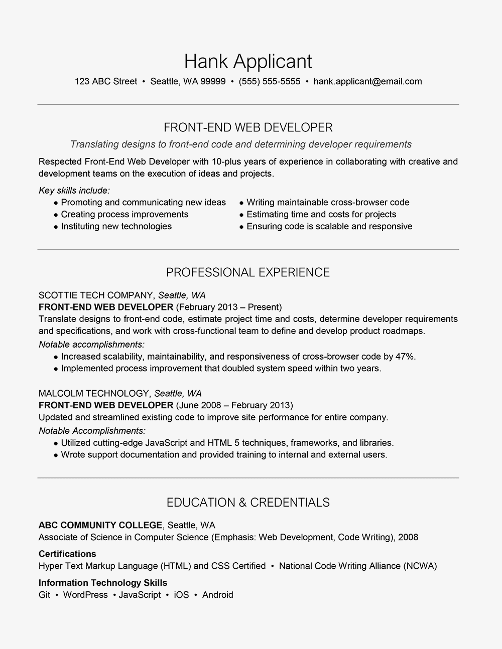Sample Cover Letter for a Front-End Web Developer