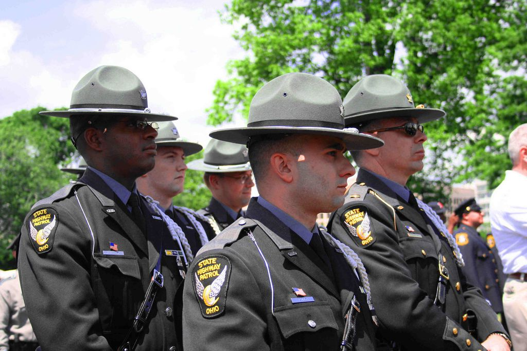 Ohio State Troopers attend the National Law Enforcement Memorial