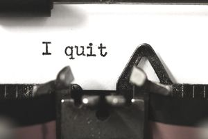 """I quit"" on a vintage typewriter"