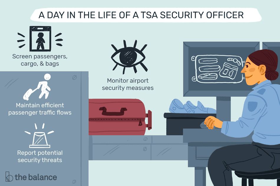 A day in the life of a TSA security officer: Screen passengers, cargo, and bags, Maintain efficient passenger traffic flows, Report Potential security threats, Monitor airport security measures